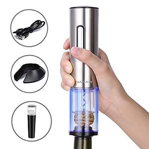 NANAMI ワインアクセサリーセット 電動ワインオープナー USB充電式 フォイルカッター付き 真空ボトルストッパー搭載 コルクスクリュー 栓抜き ワインコルク抜き (銀)