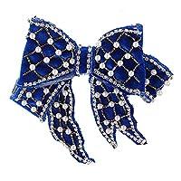 TITOTO ブローチピンエレガントパールスパンコール弓衣装装飾ファッションかわいい (色 : 青)