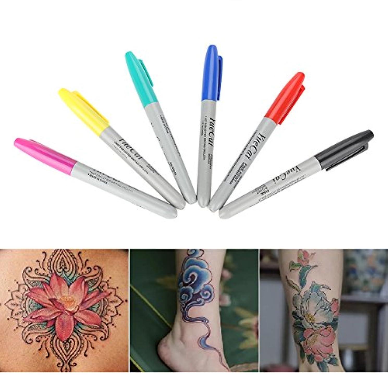 参加するあまりにも累積6ピース/セットタトゥースキンマーカー、永久タトゥーペン、位置決めペン永久化粧、タトゥーマーキングスクライブペン用ボディアート美容ツー