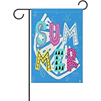 夏の季節の庭の旗両面ホームデコレーション屋外結婚式12 x 18インチ