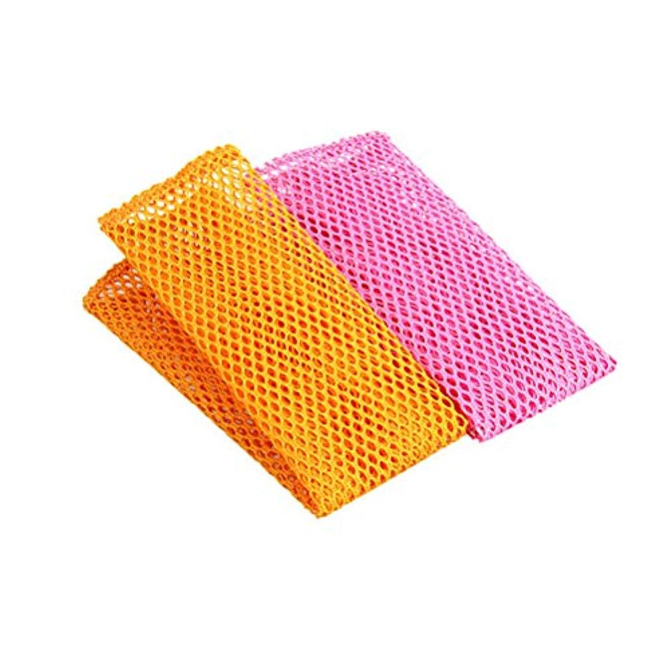 自発的規模ヒントBESTONZON 8ピース革新的な皿洗いネット布急速乾燥スクーラーinodoreメッシュ洗濯布キッチンクリーニング布 - 黄色+ピンク