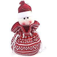 Tinkskyかわいい雪だるまクリスマス巾着ギフトTreatバッグキャンディバッグウールニットストライプデザインGoodieバッグポケットSweet Presents Stocking Fillerハンドバッグホームパーティー装飾