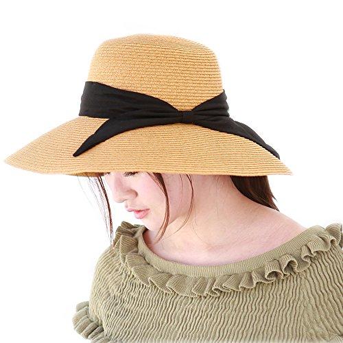 モ二コ レディース 帽子 ハット 麦わら つば広 UV 折りたたみ ストローハット UVカット 紫外線対策 日よけ lz16008