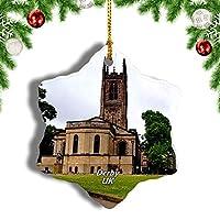 Weekinoイギリスイングランドダービー大聖堂クリスマスオーナメントクリスマスツリーペンダントデコレーション旅行お土産コレクション陶器両面デザイン3インチ
