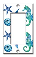 アートプレートブランドスイッチ/壁プレート–カラフルタツノオトシゴ&シェル マルチカラー 8593-R