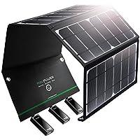 RAVPower ソーラーチャージャー 【3ポート / 24W】 iPhone、Android 各機種対応 ソーラーパネル アウトドア/キャンプ / 地震/災害時 RP-PC005