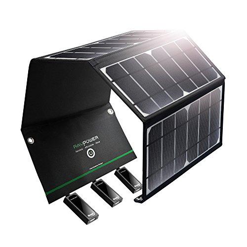 RAVPower ソーラーチャージャー USB 3ポート/24W iPhone/Android 各機種対応 ソーラーパネル アウトドア/災害時 RP-PC005