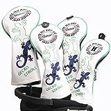 Guiote ゴルフヘッドカバー Golf head covers クラブヘッドカバー ウッドカバー ドライバー 新デザイン 交換可能な番号タグ付き(#2.#3.#4.#5.X) 4個セット (GECKO STROLL-White)