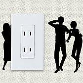 waller スイッチとコンセントを楽しく飾るウォールステッカー「家政婦は見た」