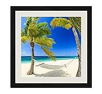 ブラック木製フレーム ホーム装飾ポスター 額入り絵画(熱帯の楽園海ビーチヤシの木ハンモック夏)40x40cm