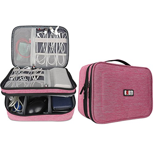 BUBM iPad/PC周辺/カメラ周辺機器整理保護ケース 二層式 ベルクロ式仕切り 防水ナイロン トラベルバッグ メンズ レディース プレゼント(L,デニムピンク)