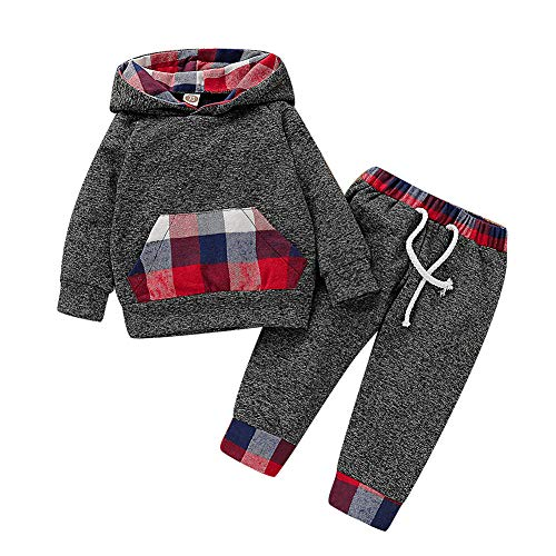 Simplee kids Newborn Baby Boy Girls Winter Fall Outfit Cotton Clothing Set Plaid Pocket Shirt+Pants (Red and Blue Plaid, 3-6Months)