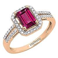 18K ローズゴールド 7X5 MM エメラルドシェイプ 人工宝石&ラウンドダイヤモンド レディース 婚約指輪