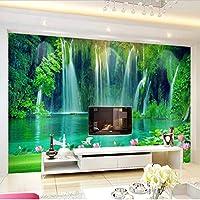Lcymt 中国風の滝流水3Dステレオ壁画の壁紙リビングルームテレビの背景壁の家の装飾風景の壁画-350X250Cm