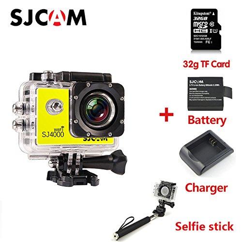 SJCAM SJ4000-WIFI スポーツアクションカメラ 1080P 12MP HD動画対応 30M防水 正規品 黄ばむ +32G TF Card+電池+充電器+自撮り棒