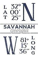サバンナ、ジョージア–緯度と経度(ブルー) 24 x 36 Signed Art Print LANT-67607-710