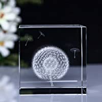 MYLIFESTYLE 3d Dandelion Paperweight (レーザーエッチング) inクリスタルガラスキューブ誕生日/卒業ギフト( 2.4 X 2.4 X 2.4インチ) (タンポポ)