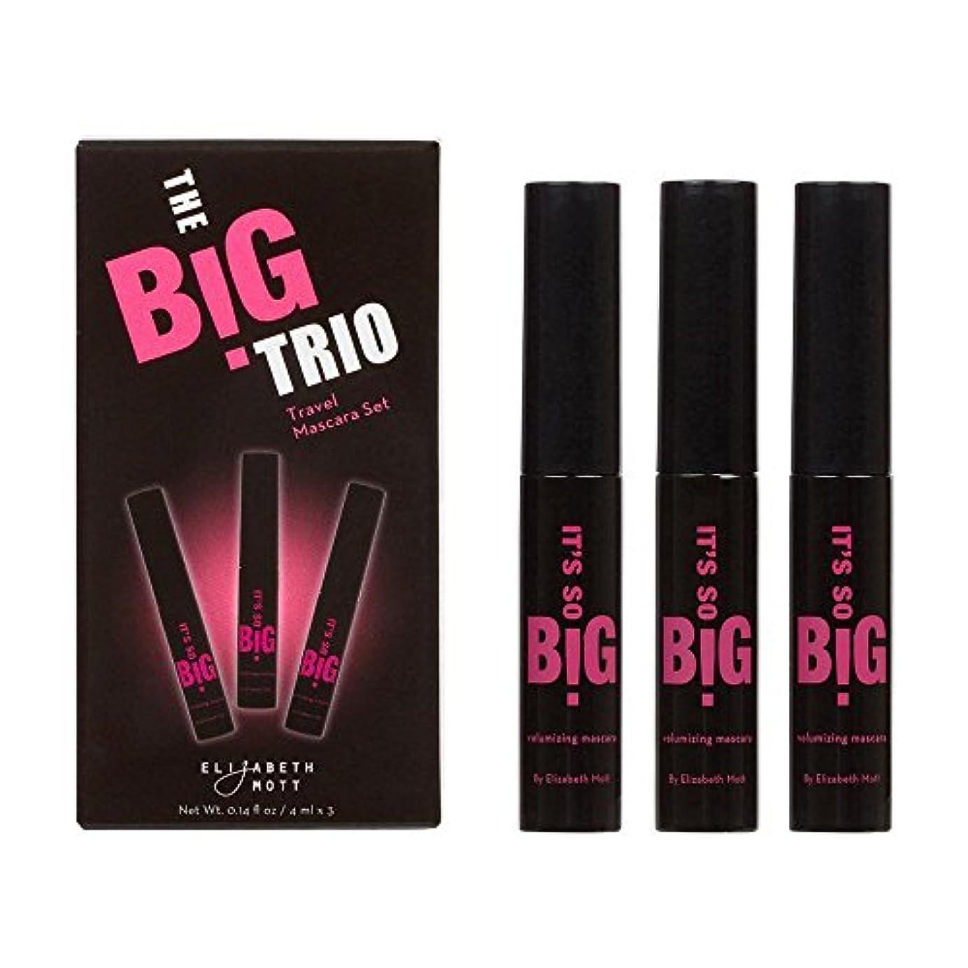初期要求降伏エリザベス?モット?マスカラ(3パック )It's So BIG Volumizing Mascara (Black) by Elizabeth Mott Travel Set 3-pack Trio (4ml x 3)