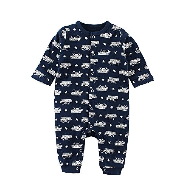 Baby Nest ベビー服 男の子 長袖カバーオール 新生児服 赤ちゃん 長袖ロンパース 秋冬 コットン クルマ 18-24M