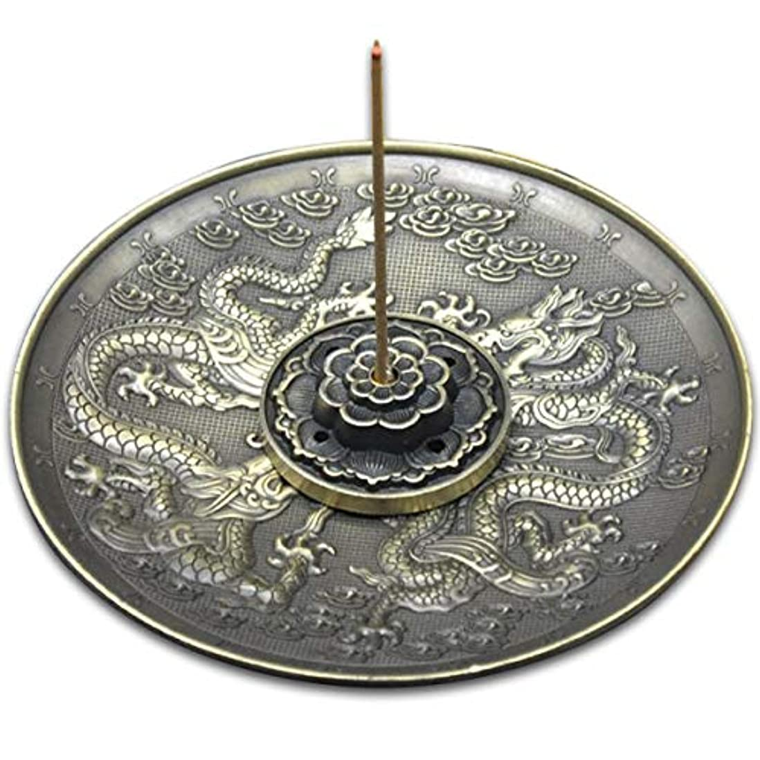 バングラデシュリスナー雑品(ナギ?サウンド)Nagi?Sound 香皿 お香 立て 龍 蓮 5孔 香道 合金製 (青銅色)