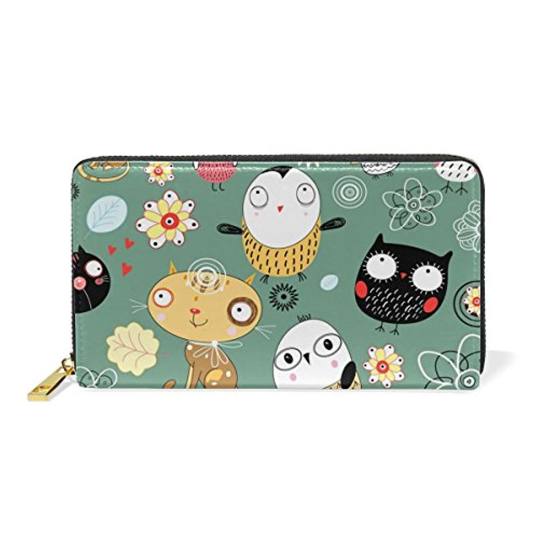 財布 レディース 長財布 大容量 かわいい 鳥柄 猫柄 ネコ 可愛い 幾何学模様 ファスナー財布 ウォレット 薄型 本革 型押し 小銭入れ プレゼント用