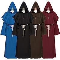 4点セット 4色 中世 修道士 神父 牧師 僧侶 ロング フード ローブ 大人 男性用 コスチューム ハロウィン コスプ…