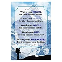 Watch your THOUGHTS, for they become words. Motivational Quote Poster for Office Staff College Athletes Teams School Classrooms and Home - 13x19 in Inspirational Paper Poster Proudly Made in the USA by Business Basics