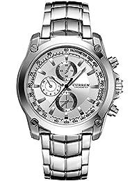 Molody 新しいCURREN腕時計ファッションメンズステンレススチールバンドアナログスポーツクォーツ腕時計ギフトボックス (ホワイト)