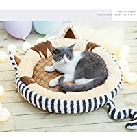 犬 猫 折りたたみ 室内用 ペットベッド 春夏秋冬用 ふわふわ ふかふか 可愛い クッション付き (グレー)