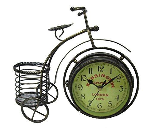 ビンテージ風 おしゃれな 自転車型 小物入れ付き 両面 文字盤...
