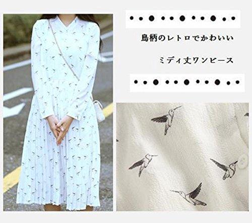 (ビーツリー)レトロ柄ロングワンピース長袖鳥柄フレアプリーツレディース(白)