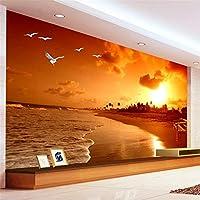 Ansyny カスタム3D壁画壁紙夕焼けビーチ写真風景リビングルームテレビ背景写真壁紙-220X140CM
