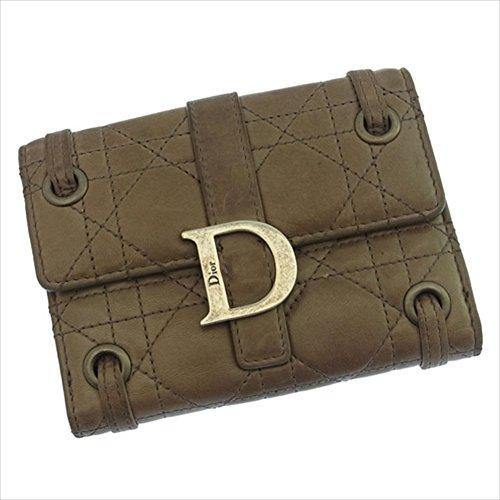 クリスチャン・ディオール Christian Dior Wホック財布 二つ折り レディース レディディオール カナージュステッチ D金具付き 中古 A599