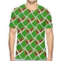 Tシャツ 半袖 メンズ ザンビアの国旗 丸首 今季最新 量軽 爽快 3Dプリント 薄手 吸汗速乾 ファッション おしゃれ ファッションスポーツウェアTシャツ