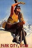 """冬スポーツwith Sunパークシティユタ州スキーWoman山スキー旅行20?"""" x 30?""""ヴィンテージポスターREPROマット紙We Have他のサイズ"""