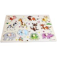 kocomeベビー子供動物木製魅力的な初期学習ハンドパズルプレートToys