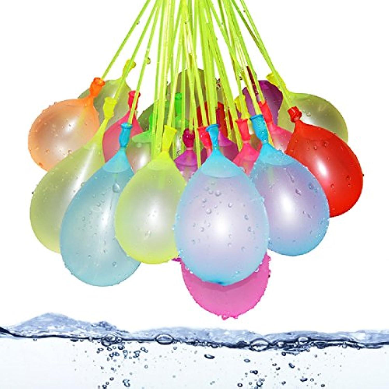 Mazhashop 水爆弾 水風船 マジックバルーン 111個(3束X37) カラフル 夏のおもちゃん水遊び ポンプで水を入れて投げ合う 60秒以内に一気に膨らませて縛る 【ハンドル部分の色ランダムです】