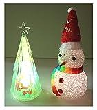 (バハギア) Bahagia ( 光る ミニ クリスマスツリー + 雪だるま + 交換電池付き セット )手のひらサイズ LED クリスタル 7色変色 イルミネーション カラフル ツリー オーナメント 装飾 グッズ インテリア スノーマン レインボー パーティー イベント クリスマス 雪 赤 hsb-xsl04