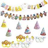 ジャングルアニマル ハッピーバースデーデコレーション - ハッピーバースデー バナー 帽子 メガネキット 男の子 女の子 誕生日パーティー用品