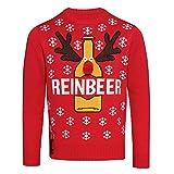 (クリスマスショップ) Christmas Shop メンズ 裾に栓抜きつき トナカイ クリスマスセーター ニット (L) (レッド)