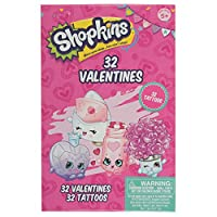 Shopkins 32 Valentine Cards with Tattoos