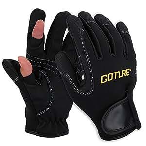 Goture(ゴチュール) フィッシンググローブ 2本指出し メンズ グローブ 指だし 釣り用 手袋 穴あき アウトドア ネオプレーン 投げ釣りグローブ L サイズ