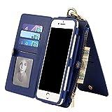 HERMES 財布 ピンク Kobwa iPhone7 Plus 手帳型 スマホケース PUレザー ウォレット型 財布型 アイフォンカバー カードホルダー12枚付き 取り外し可能 分離式 大容量 ハンドバッグ 多機能 ブルー