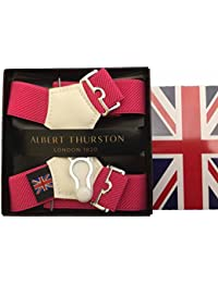 (アルバートサーストン) ALBERT THURSTON ソックサスペンダー ソックガーター ソックス留め メンズ 紳士 英国製 伸縮素材 殿方用靴下吊 Pink ピンク B157