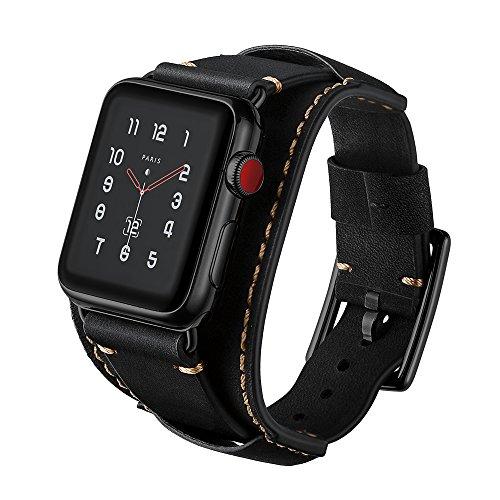 Kartice for Apple Watchスマートウォッチバンド cuff Crazy Horse Leather高級レザー製ベルト アップルウォッチ新型バンド Apple Watch/Apple Watch Series 2/Apple Watch Series 3に対応(38mm, ブラック)