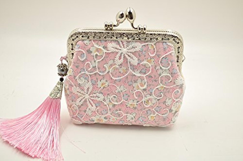 Relax -Breath アンティークがま口 手作り小銭入れ 財布 アクセサリー入れ 刺繍花 レース タッセル付き ピンク
