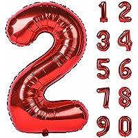 Babyhouse(ベビーハウス)数字 ナンバー バルーン 風船 誕生日 結婚式 0 1 2 3 4 5 6 7 8 9 二次会 パーティー バースデー ウエディング ブライダル 受け付け 披露宴 祝い 結婚 記念日 飾り ふうせん グッズ 赤い レッド