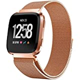 Ausexy for Fitbit Versa Bands, Luxury Stainless Steel Milanese Magnetic Loop Metal Replacement Accessories Bracelet Strap Watch Band for Fitbit Versa