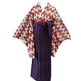 卒業式袴セット 女性レディース二尺袖着物無地袴セット 4サイズ5色/S(87cm) 紫