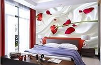 Weaeo 3D壁紙カスタム壁画不織壁ステッカー3D赤いバラ壁の壁の壁紙3D-200X140Cm